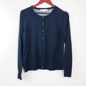 LOFT Navy Blue and Back Patterned Cardigan Size M